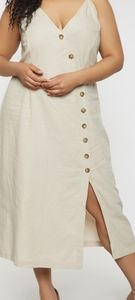 Asymmetrical Button Front Cami Dress XL